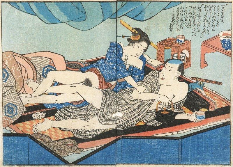 Double sheet of Shunga-book