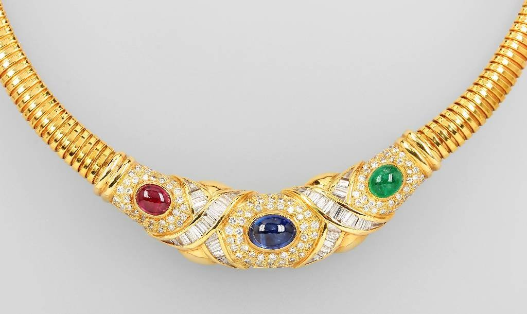 18 kt gold necklace with coloured stones and diamonds