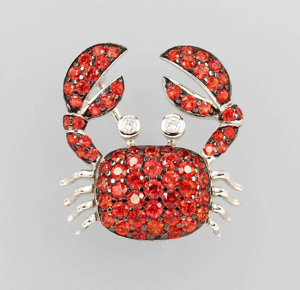 18 kt gold brooch 'crab' with sapphires and brilliants