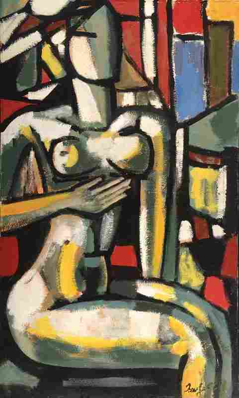 Unknown contemporary artist, sitting nude