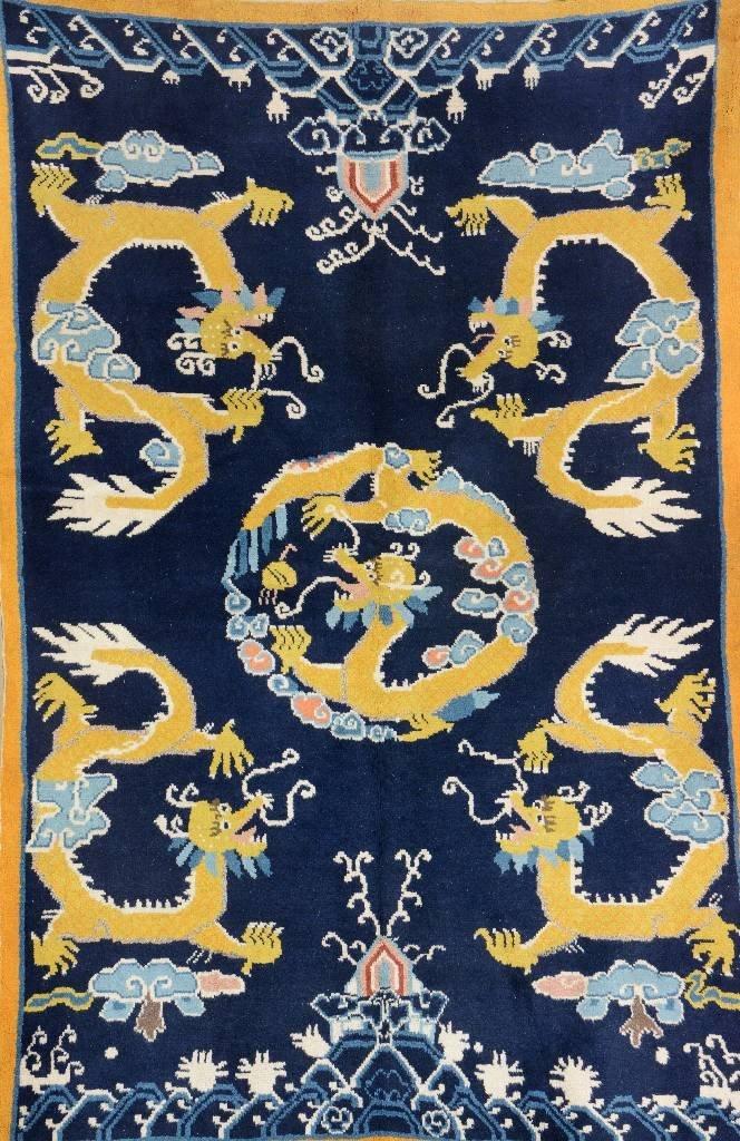 Mongolian 'Five Dragon-Rug',