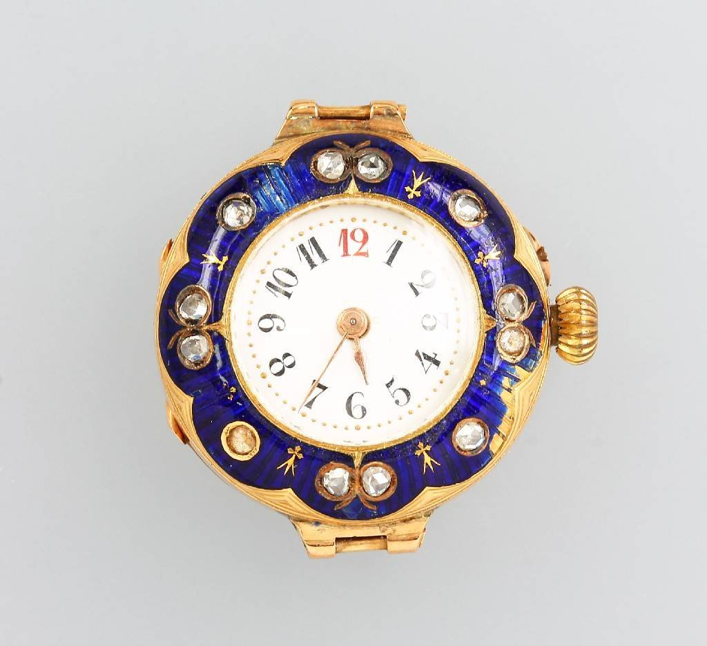 18 kt gold ladies' wristwatch with enamel and diamonds