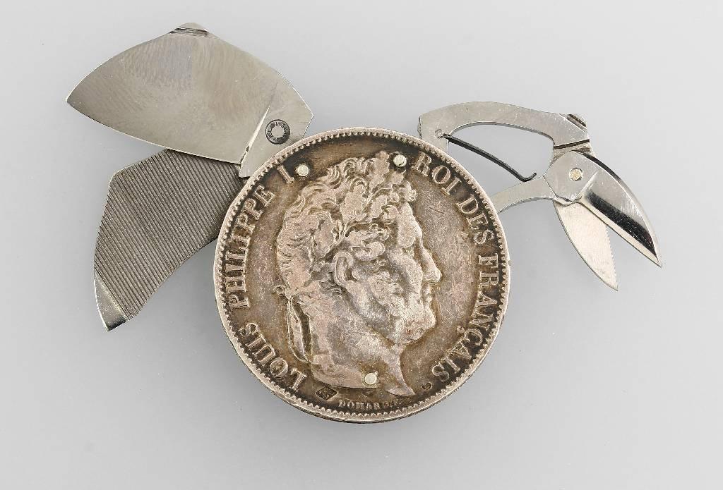 Pocket knife in silver coin, 5 Francs - 3