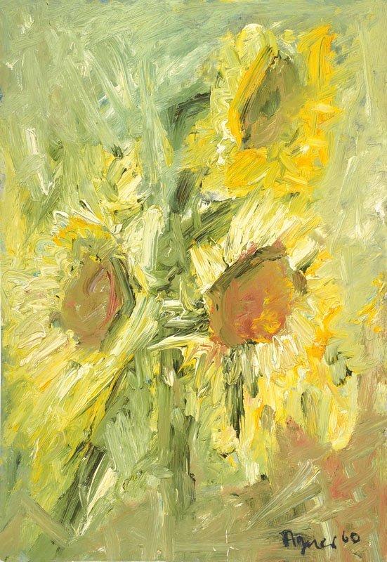 Hans Peter Agner, 1933-1989, sun flowers, oil/paper