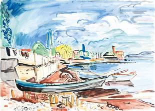 Hans Purrmann, 1880-1966, boats on the bank