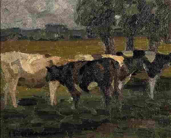 August Lüdecke-Cleve, 1868-1957, oil/artist board, cows