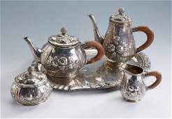 5piece coffee and teaset german 1900 silver