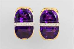 Pair of 14 kt gold earclips with amethyst and diamonds