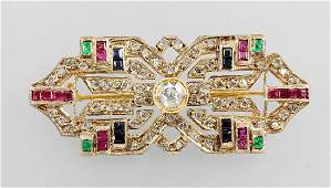 14 kt gold brooch in ArtDeco style with coloured