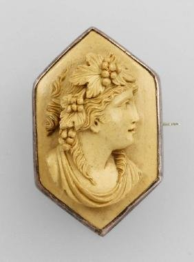 Brooch with lava-cameo, Italy approx. 1880