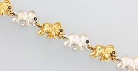 14 kt gold bracelet 'elephants'