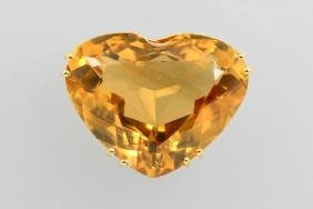 14 kt gold pendant with citrine-heart