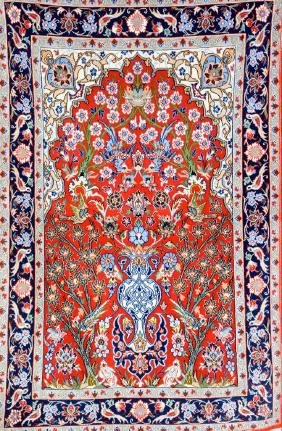'Part-Silk' Isfahan Rug (Singed),