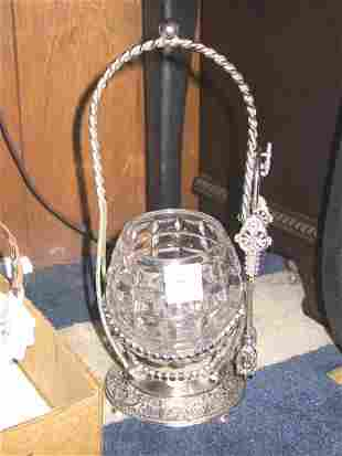 Silver Pickle Caster with Tongs