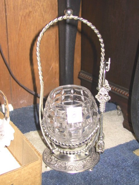8: Silver Pickle Caster with Tongs