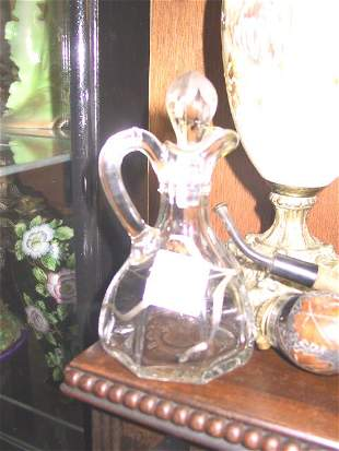 Glass Vinegar with Sterling Overlay