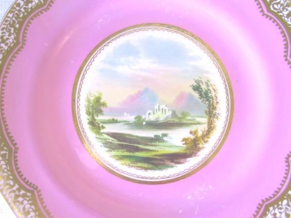 21: 2 Hand Painted Plates, Pink & Gilded