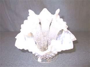 Fenton White Opalescent Hobnail Epernge