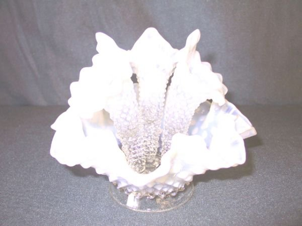 23: Fenton White Opalescent Hobnail Epernge