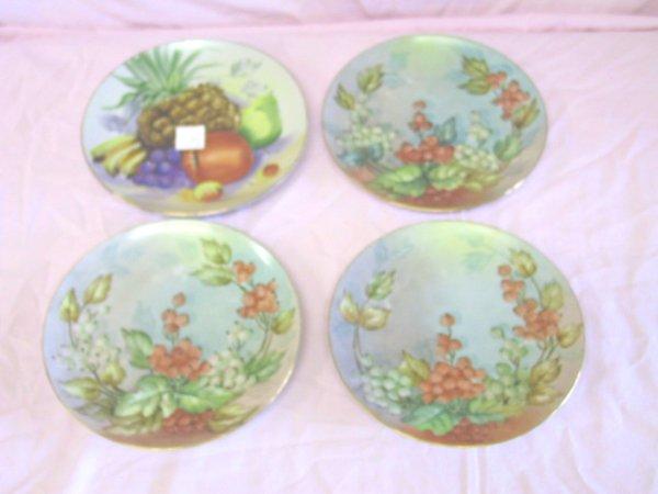 21: 4 Hand Painted Fruit Plates Bavaria