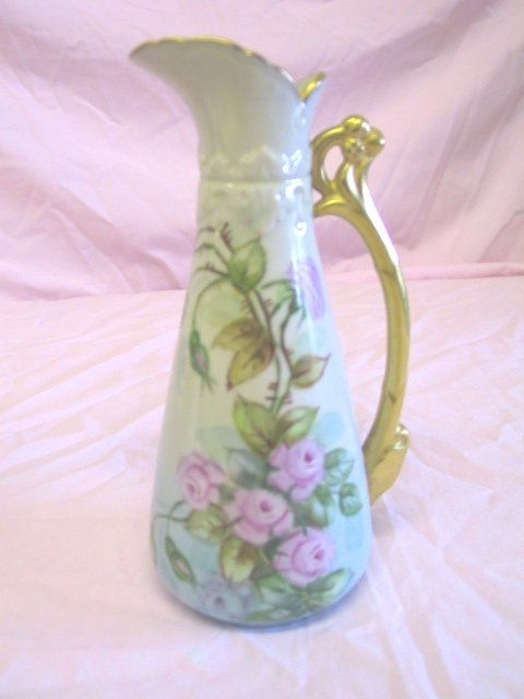 22: Hand Painted Floral Pitcher