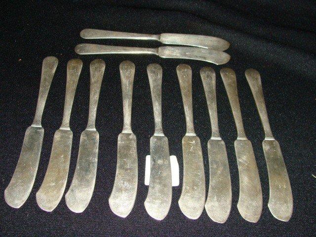12: x11 Sterling Butter Knives 306 grams