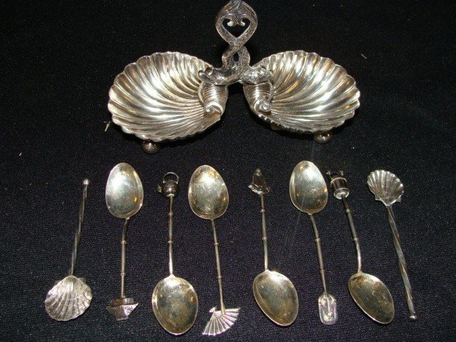 13: 9pc; 6 sterling spoons and silver sugar server