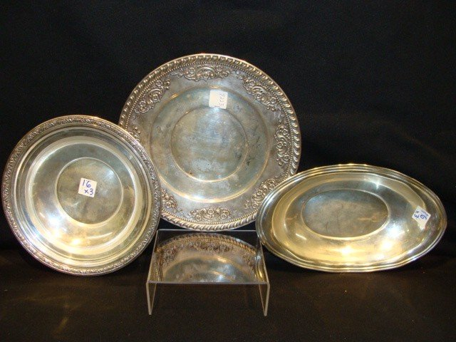16: x3 Sterling Serving Bowls and Wallace #1440