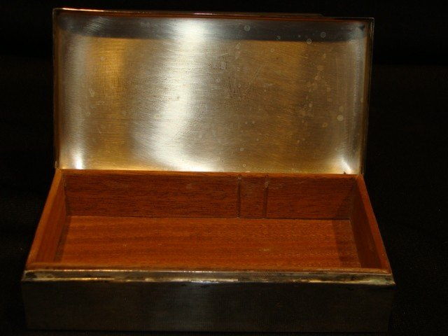 17: Sterling dresser box lined in Mahg. by Poole