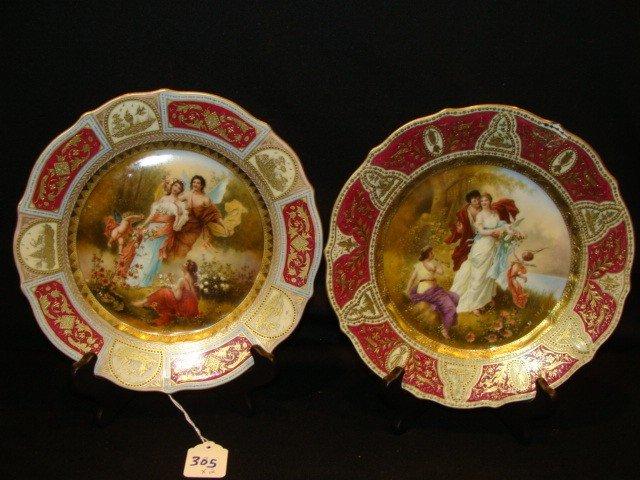 305: 2 Royal Vienna Handpainted plates w/