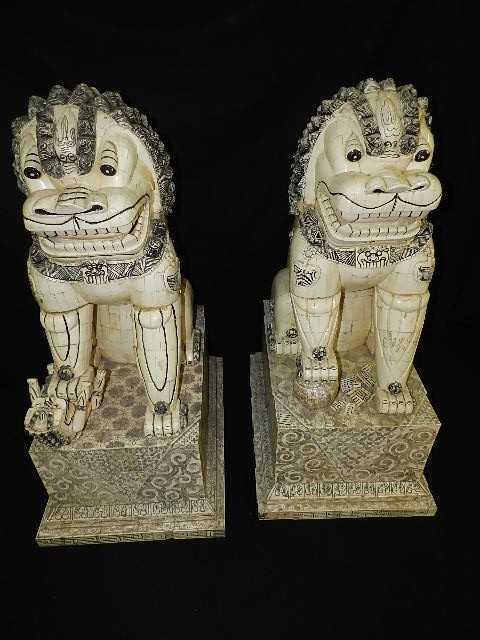 250 Monumental Ivory Bone 41 Quot Foo Dogs A Wonderful Pai