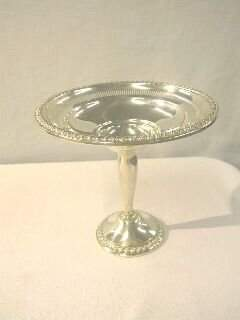 """Sterling 6"""" Compote with Rope Trim by Rogers."""
