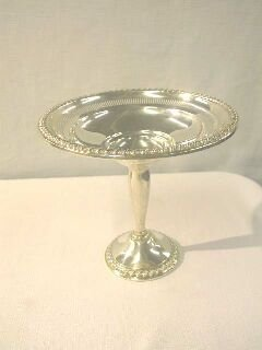 """1: Sterling 6"""" Compote with Rope Trim by Rogers."""