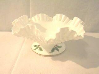 12: Large White Milk Glass Holiday Center Bowl