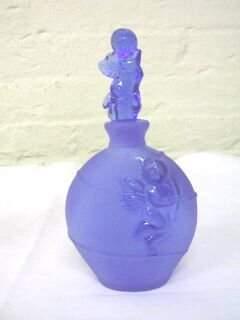 Cobalt Cherub Perfume Bottle Cows Heads.