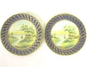 Pr. Cobalt & Gilded Country Scene Nippon Plates.