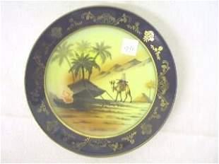 Cobalt & Gilded Egyptian Scene Plate.