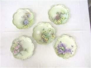 5 Floral Bavaria Decorator Plates.