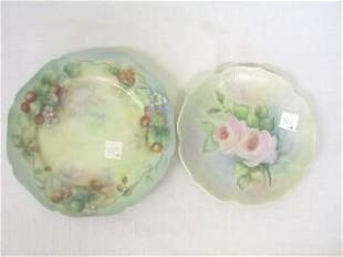 2 Hand Painted Plates H&C L France.