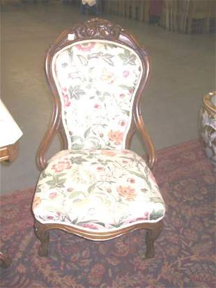 Victorian Hand Carved Slipper Chair