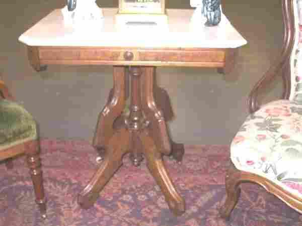 64: Eastlake Victorian Marble Top Table.