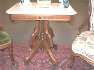 Eastlake Victorian Marble Top Table.