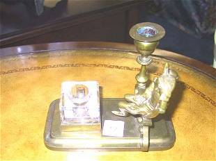 Figural Brass & Glass Candle Stick Inkwell