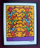 HARING, KEITH. Lithograph stuck to board.