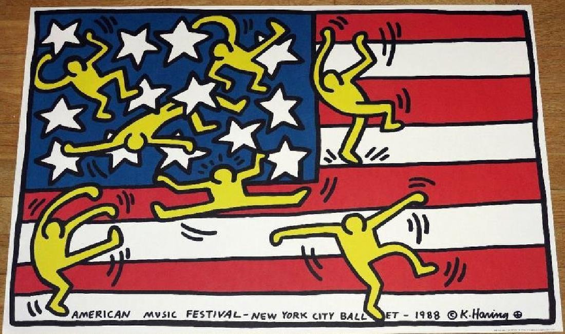 KEITH HARING POSTER,  AMERICAN MUSIC FESTIVAL NEW YORK