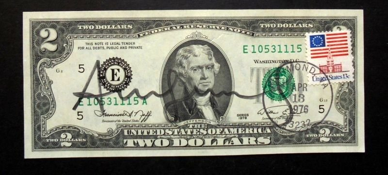 Andy Warhol Two Dollar Bill Jefferson, 1976 Signed