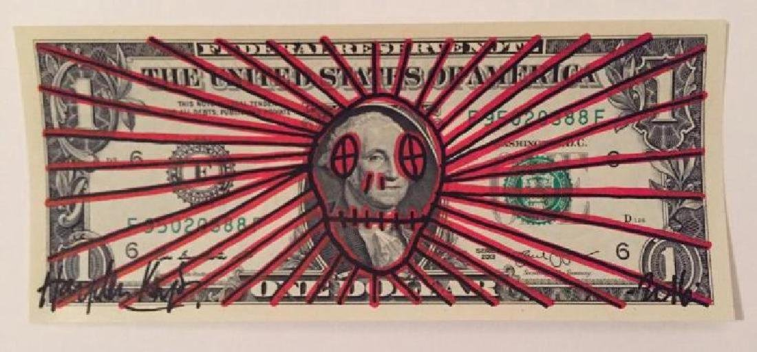 Hayden Kays Signed original unique Skull painted Dollar