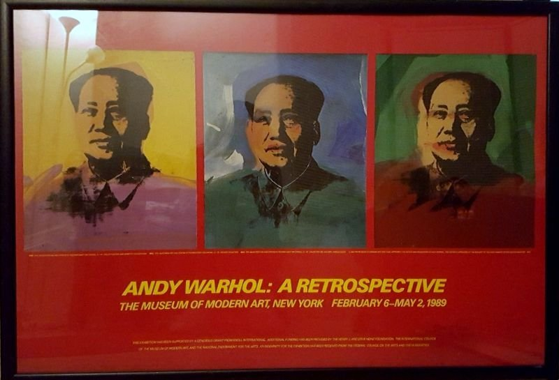 ANDY WARHOL : FRAMED POSTER PRINT OF A TRIO OF MAO