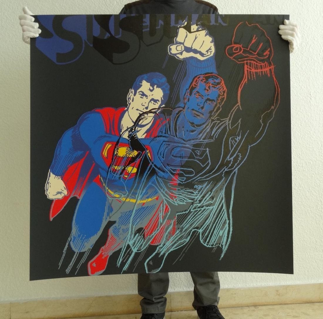 "Andy Warhol ""Superman"" Silkscreen, diamond dust"