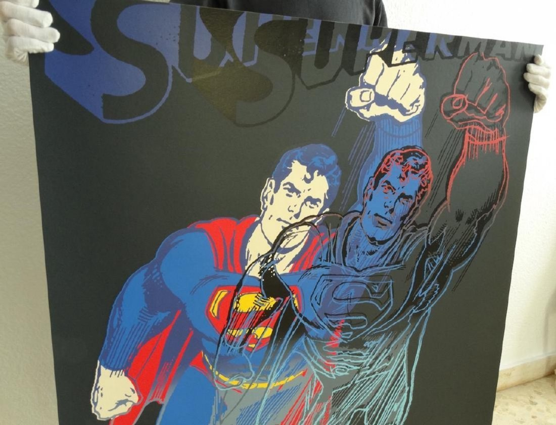 "Andy Warhol ""Superman"" Silkscreen, diamond dust - 3"
